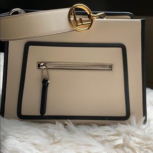 Fendi runway shopping bag camilia cream and black